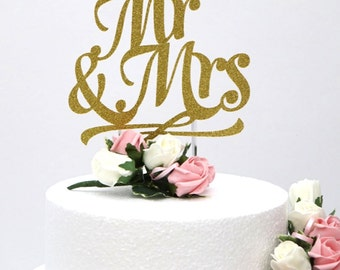 Mr and Mrs Cake Topper- Glittery Gold