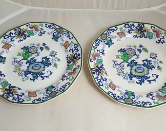 2 Doulton of Burslem Nankin Handpainted Salad Plates