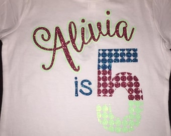 Girls Birthday tee multi color glitter