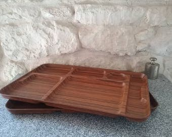 Lot of 2 vintage Caleppio ROBEX Brown lunch trays - imitation wood, Made in Italy, 1970s