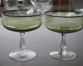Vintage Margarita Glasses with Silver Trim