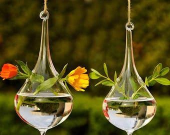 Water Drop Glass Hanging Vase Terrarium