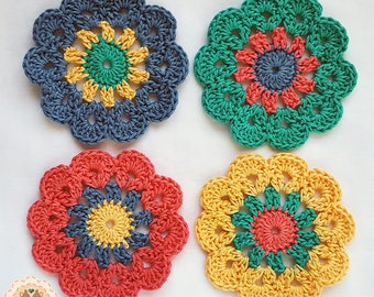 Crochet Coasters, Cath Kidston Inspired, Coasters, Table Savers, Crochet Table Savers, Glass Coasters, Decorative Coasters, Flower Coaster