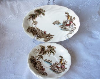 Vintage Johnson Bros set Old mill set The Old mill pottery Country cottage decor Old mill saucer Old mill serving dish