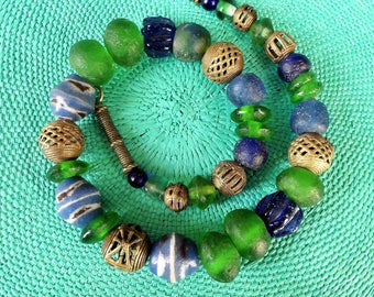 African Beads // Glass beads //Ethno Style // Krobo Glass Beads Ghana // Bronze