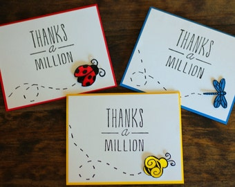Thanks a Million Bug Collection, Set of 6, Thank you cards, Stationary, Cute Thank you, Encouragement Cards, Baby Shower Thanks, Colorful