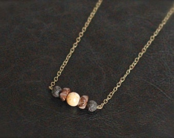 Aromatherapy/Essential Oil Diffuser Necklace, lava stone and wood, antique gild
