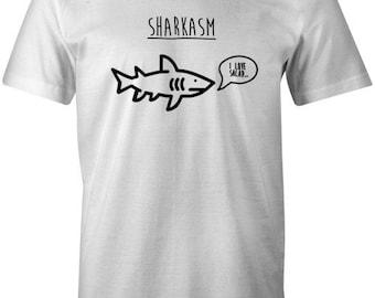 Sharkasm Mens T-Shirt - Shark Salad Eating Funny Food Quote Slogan Irony Present Birthday Top