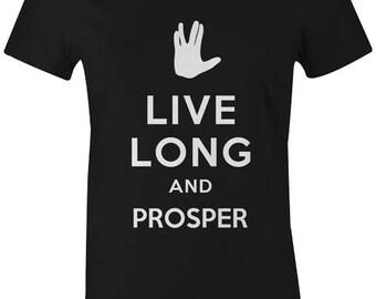 Live Long and Prosper Womens T-Shirt - Star Trek Leonard Nimoy Spock Funny Novelty