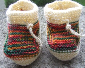 knitted baby shoes colorful/beige