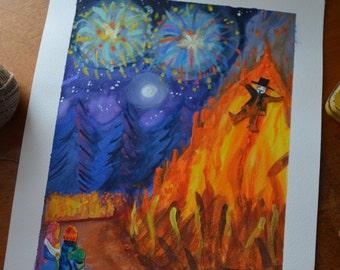 Remember, Bonfire Night Illustration Watercolour
