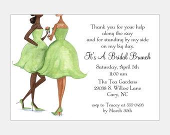 African American Bridesmaid Luncheon -Green | African American Bridal Tea Invitation | African American Bride