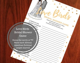 Love Birds Bridal Shower Game - African American Bridal Shower Game Download - Guess the Movie Bridal Shower Game -Instant Printable