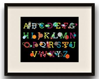 Space Alphabet DIGITAL ART PRINT - Home Decor, Kids, Bedroom, Outer Space, Solar System, Rocket Ship, Playroom, Nursery, Astronaut