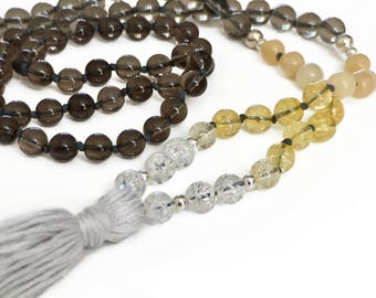 Empyreal Smokey Quartz and Citrine Mala Necklace with Sterling Silver accents
