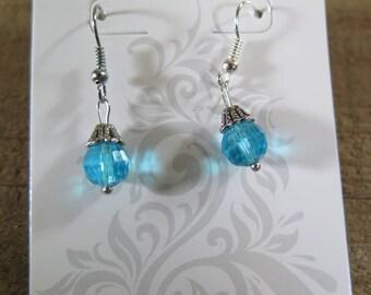 Blue bead dangling earring