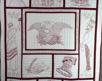 "Patriotic USA red work wall quilt, 38.5""x48.5"""