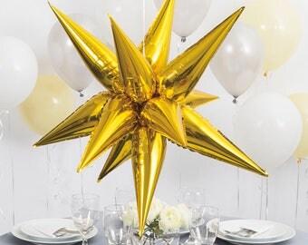 Starburst | Balloons, 3D Star Foil Balloon 70 cm, Wedding Balloons, Gold Balloons, Silver Balloons, Birthday, Centerpiece, Decor, star burst