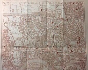 Vintage Map of London - Fulham District and Parsons Green.