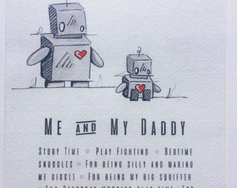 Personalised Family Robot Painting A5