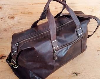 Genuine Leather Weekender, Brown Leather Duffel, Handmade Weekender BARGANZA sorpresa Bag