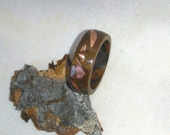 Copper Confetti Black Walnut bent wood ring
