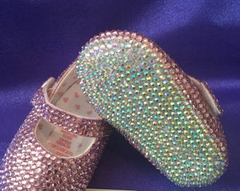 ON SALE..Bling baby crib shoes age 6-9 months, romany, bespoke, pre-walker