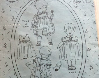 Vintage Pattern Baby Toddler Dress Apron Pattern by Jeannie Baumeister Size 1, 2, 3