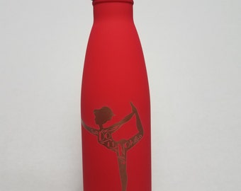 """Stainless Steel Insulated Bottle- custom Yoga logo w/ """"DO IT NOW"""" Inspirational Quote"""