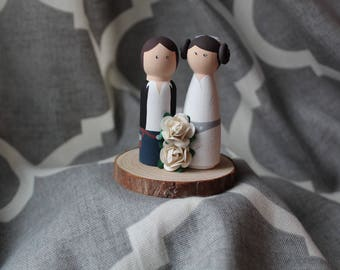 Customizable Han Solo and Princess Leia Peg Doll Wedding Cake Topper