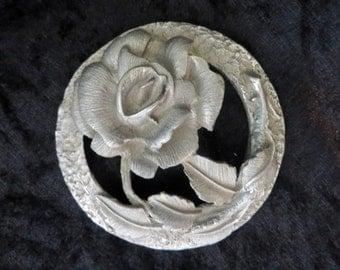 Vintage Englefields British Pewter Potpourri English Crown & Rose Stamp (C) 1990 Art Nouveau Style