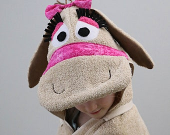 Girl Donkey Hooded towel - your choice of accent color