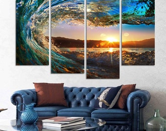 Waves at Sunset 4 Piece Framed Wall Canvas