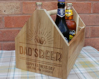 Personalised Fathers Day Gift Wooden Beer Crate | Engraved Wood Caddy Dad