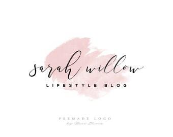Premade Logo, Watercolor Logo, Delicate Modern, Blog Beauty Branding Blush Logo Feminine, Watercolor Pink Branding