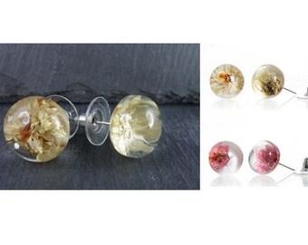Earrings, studs, resin, flower, blossom, flower bead, resin bead