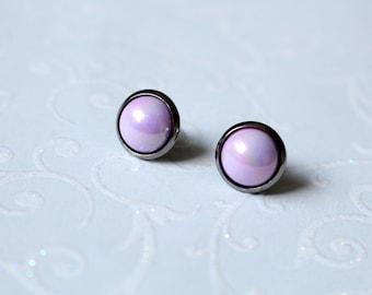 Earrings pink metal grey 10 mm