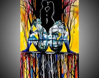 Behind watercolor painting, Love painting, Teen painting, Original painting, Love art, Love wall art, Love wall decor, Love artwork,