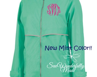 Mint Rain Jacket - Periwinkle Rain Coat - Charles River Women's Rain Coat - Monogrammed Full Zip Charles River Rain Jacket-Sorority