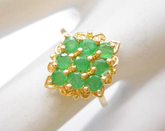 Emerald Ring, Emerald Cluster, Vintage Ring, Gold Cluster Ring, 10k Yellow Gold Round Emerald Cluster Ring ~ Sz 6.75 ~ #2281