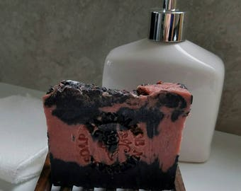 All Natural Soap / Rose Soap / Romance Blend / Hot Process Soap / Rustic Soap / Coconut Oil / Jojoba Oil / Activated Charcoal /
