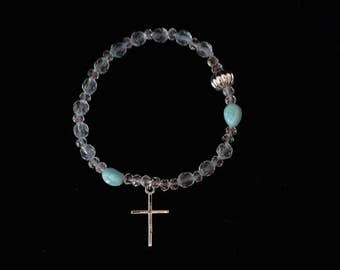 Rosary bracelet: pale green and silver