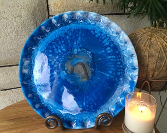 Blue, white & clear resin plate - large serving plate - decorative plate / serving plate -- handmade tableware