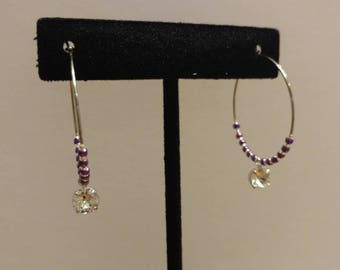 Purple Japanese Glass Seed Bead and Czech Glass, Stainless Steel Hoop Earrings with Swarkofski Element