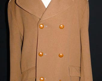 Mens Camel Vintage Retro Waist Length Double Breasted Wool Coat Jacket Gannex Size Large