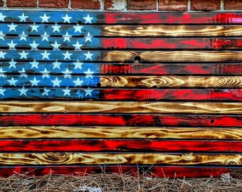 36X19 Hand Crafted Wood Flags