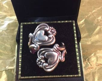 Sterling silver spoon ring with hearts