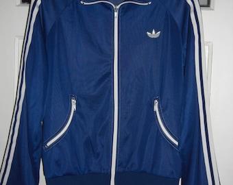 Vintage Adidas sport jacket dark blue 80 's