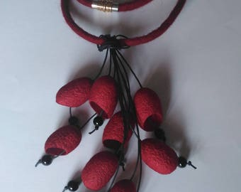 Necklace with silk cocoons Handmade Felt necklace Elegant necklace Silk cocoon jewelry Necklace burgundy and black.