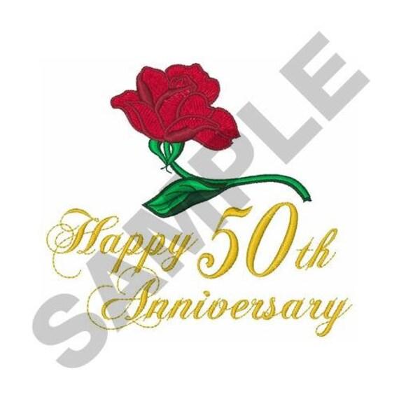 Golden wedding anniversary machine embroidery design